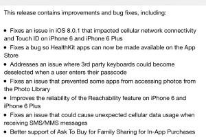 苹果发布iOS 8.0.2更新:修复信号Bug