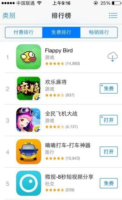 Flappy Bird成免费榜首位 开发者或将游戏下架