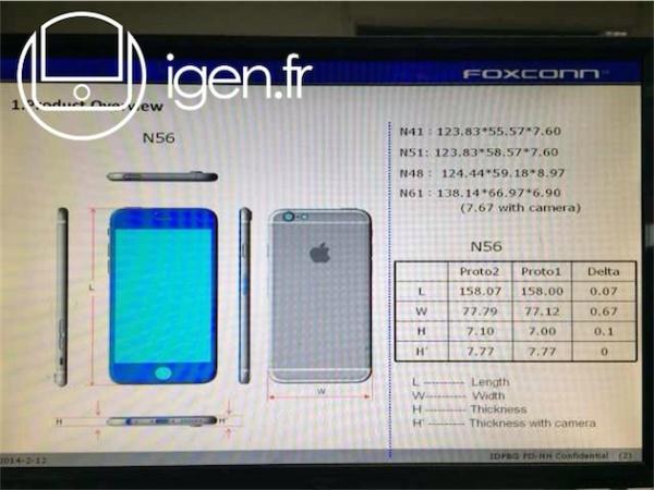 富士康泄露4.7和5.5寸 iPhone 6 详细技术规格