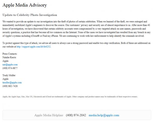 苹果:明星iCloud账户被盗原因是密码太简单